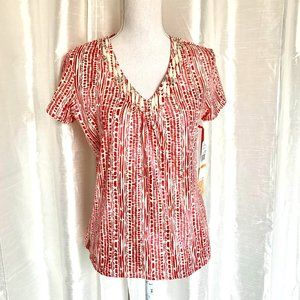 NWT   RUBY RD.  PRINT TOP   SMALL